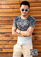 XNAN 2014 new Baroque sense of large tattoo printed short-sleeved T-shirt T597 short-sleeve Comfort T-shirt For Metrosexual men