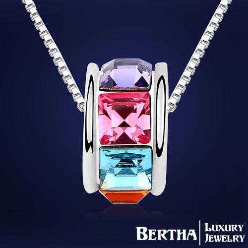 Fashion Luxury Exquisite Colorful Crystal Necklaces Pendants With Swarovski Elements For Women Ladies Wedding Dress Joyeria(China (Mainland))