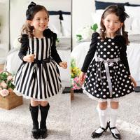 2014 New Brand Children Clothing Party Girl's Fashion Dresses Long Sleeve Girl Dress Korean Kids Clothes