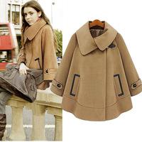 2014 New Women's Batwing Cape Wool Poncho Jacket Winter Warm Cloak Coat Loose Cloak Cape Outwear Cloak Dust CamelOuterwear XXL,L