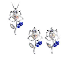 2015 New Silver Plated Austrian Crystal Flower Necklace/Earrings Jewelry Set For Women -G129