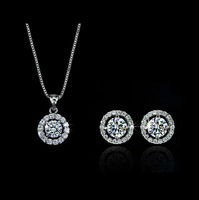 2015 New Silver Plated Austrian Crystal Round Necklace/Earrings Jewelry Set For Women -G157