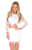 2014 New Arrival Fashion Long Sleeve Mesh Lace Bodycon Crop Top  dress Sexy Women  Summer  Lace Party Two Piece Set Dress