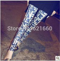 free shipping female woman leggings Vintage Floral graffiti new color letters silk milk nine  pants Leggings wholesale