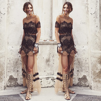 2014 New Arrival Fashion Mesh Lace Bodycon Crop Top  dress Sexy Women  Summer  Nude Lace Party Two Piece Set Dress