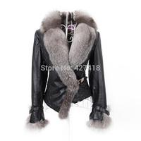2014 Winter New Product Female Luxury Faux Fur Coat Slim Full Sleeve PU Leather Jackets Blazer Women Fox Fur Outerwear Plus Size