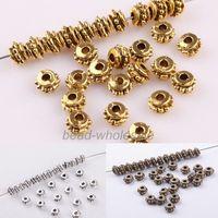 Free Shipping 150pcs /lot Tibetan Flower Beads Metal Silver Antique Flower Decorative Pattern Spacer Bead Finding 5*3mm