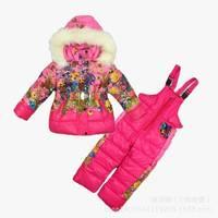 Retail New Children's Winter Clothing Set baby girl Ski Suit Windproof Print Warm Coats Fur Jackets+Bib Pants girls sports suit