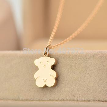 Новый 2014 женщины и мужчины медвежонок ожерелье 14 К роуз ожерелья TX287