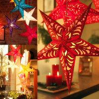 Christmas Laser Pentagram 30cm Hanging Decorations 3D Five-pointed Star Folding Handmade Paper Xmas Tree Decorations