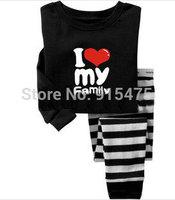 2014 Baby I LOVE MY FAMILY  Pajamas Kids Pyjamas Baby Boys girls 100% cotton Sleepwear Children Wear baby clothing 6set/lot