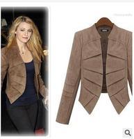 Short Faux Fur Jacket 2014 New Women Faux Leather Suedes Coat  Fashion Spring/Autumn Slim Short Black Coat Plus Size L XL to 5XL