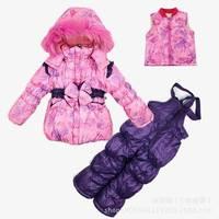 Retail Children's Winter Clothing Set baby girl Ski Suit Windproof print bow Warm Fur Jackets+Bib Pants+Wool Vest sports suit