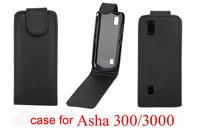 10 Pieces/Lot Pure Color Vertical Flip Leather Case for Nokia 300 Asha 3000 Black