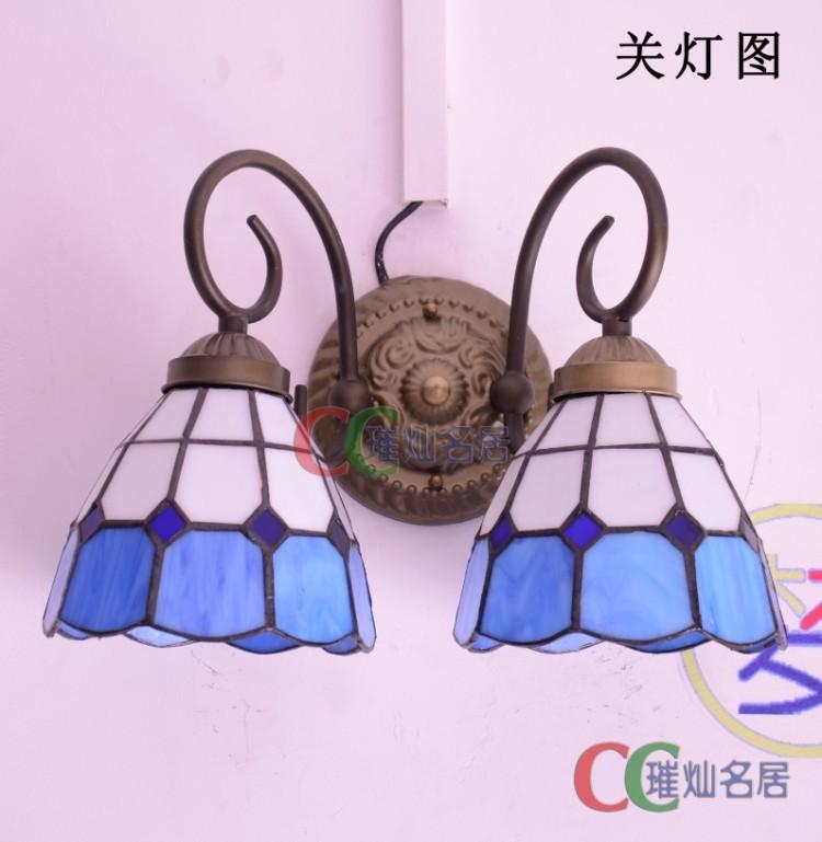 L Modern Mediterranean blue -headed 6-inch wall Tiffany lamps fine authentic restaurant kitchen den bedroom(China (Mainland))