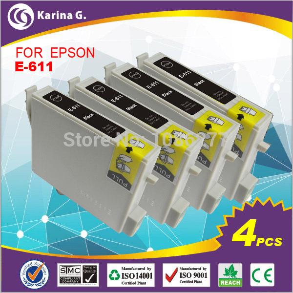 4PK black inkjet cartridge Cartucho de tinta for EPSON stylus D68 printers T0611 full dye ink