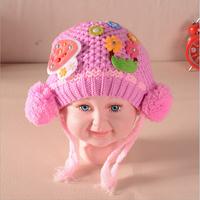 Cute mushroom cartoon children warm wool knit hat boutique baby ear warmers headgear
