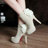 high heel ankle boots heels platform women winter boots autumn red bottom wedding shoes woman flower suede black brown red beige