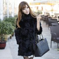 Ladies' Natural lamb Fur Coat medium-long Jacket Women's 100% Genuine Leather lamb Fur jacket Women Outerwear Fur Coats