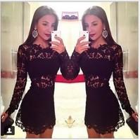 Wholesale 2014 Autumn New women black o neck lace long sleeve celebrity evening party prom dress vestidos de fiesta dropshipping