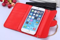 For Samsung Galaxy Note 2 Note 3 soft leather handbag chain case with wallet card set and metal logo