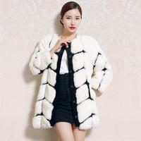 Free shipping Women's Fashion Rex fur coat 100% real natural rex rabbit fur coat medium-long rex rabbit fur coat Free Shipping
