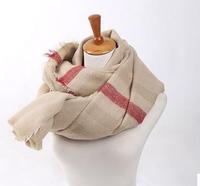 2014 popular style, Beige plaid scarf wrap style scarf, Stripe wrap scarf