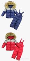 Free shipping 4 pcs/lot Winter Clothing Set Windproof print Warm Coats Fur Jackets+Bib Pants kids sports suit