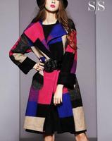 New 2014 Women Winter Plaid Woolen Jacket High Quality Fashion Long Sleeve Thick Contrast Color Outwear Long Wool Swing CoatL XL