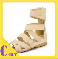 Simple fashion wedge sandals 2014 summer new women cross straps gladiator sandals size 35-43 4 colors Drop Shipping