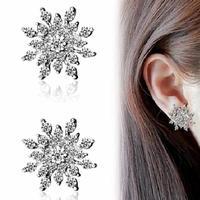 Fashion Crystal Snowflake Earrings Elegent Women Full Crystal Snowflake Gold/Silver Plated Stud Earrings New Arrival
