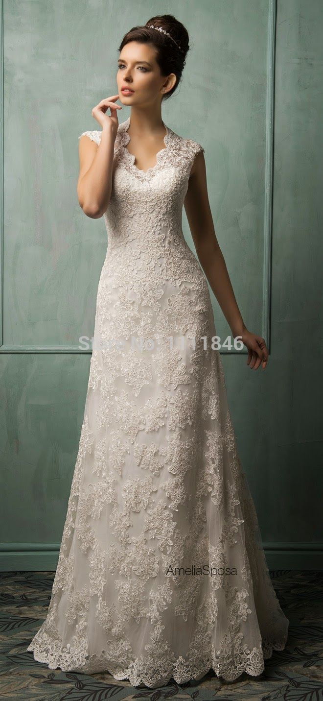 Western lace wedding dress - photo#13