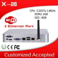 the cheapest most powerful 1037u network mini px x-26 2 lan fan desktop thin client mini business pc 2g ram 8g ssd build-in-wifi