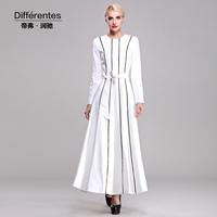 Twods 2014 new autumn elegant dress women striped pure withe maxi dress ladies o neck full sleeves dress long dress