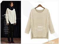 2014 Asymmetrical loose long batwing thick turtleneck large size sweater, women pullover, blouses, blusas femininas de malha