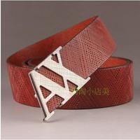 free  shippping  AX Men's leather dress belt buckle belt smooth cowhide men's business casual Korean alphabet belt