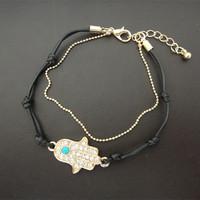 Free shipping 6 pcs/lot fashion women jewelry accessories handmade hamsa fatima hand bracelet