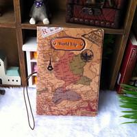 Travel around the world map three-dimensional passport holder set of identification documents