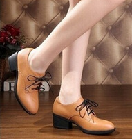 2014 Autumn Spring Genuine Cowhide Leather Ankle Boots for Women Chunky Heels Ladies Oxford Pumps Shoes Lace Up Female Footwear