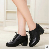 2014 Fall Genuine Real Leather Women Ankle Boots Chunky Heels Ladies Oxford Pumps Shoes Lace Up Female Footwear