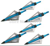 free shiping 6pcs crossbow arrow broadhead 100 grain 2'' cut diameter 3 solid blades arrow head tip