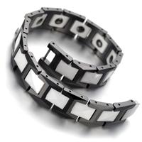 "Tungsten Mens Ladies Bracelet, Bangle, Black White, 7.9""JB906"