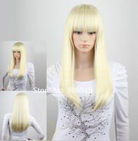 cheap blonde wigs for women long straight wig 100%Kanekalon fiber cosplay wig blond lolita harajuku wig rihanna's hair style