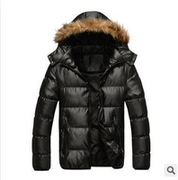 Men Winter White Goose Thick Parkas Coat New Warm Faux Marten Leather Hooded Jackets High Quality Zipper Black OuterwearL XL 3XL