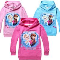 2014 Frozen elsa anna girls boys nova full t-shirts kids children t shirts child Spring hoodies Tops & Tees