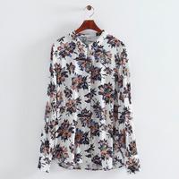 2014 women cotton blend vintage street dark flowers turn-down collar long sleeve arcing sweep blouse shirt 202505