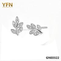 GNE0322 YFN Fashion 925 Stud Earrings for Women Genuine 925 Sterling Silver Jewelry CZ Crystal Leaf Earrings 6x9MM Free Shipping