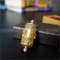 Copper turning round a pendant. prayer wheel, to freely rotate smoothly, built-in scriptures, better life role of peace