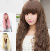 cheap synthetic hair wigs for women 2014 best selling long hair wig curly blond and pink color wigs heat friendly synthetic wigs
