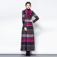 TWODS 2014 new winter women's long wool winter coats casacos femininos lapel plaid woollen overcoat with belt slim brand deisgn